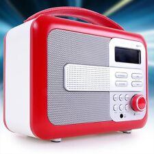 Retro Radio tragbar Leder Uhr Wecker Stereo Anlage Anzeige BigBen TR 21 Rot