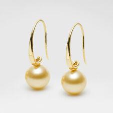 8.5-9MM Golden South Sea Pearl Drop Earrings 14k Solid Yellow Gold Hook au585