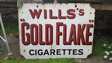 VINTAGE ENAMEL SIGN. WILLS GOLD FLAKE CIGARETTES original Double sided Hanging
