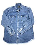 ZARA MAN Blue Denim Shirt Jacket Size Mens XL Relaxed Fit 2 Pockets Snap Buttons