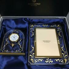 Mikimoto Photo Frame with Pearl and Table Clock with Pearl Japan