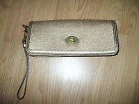 Coach gold metallic & leather with purple lining wristet handbag clutch purse