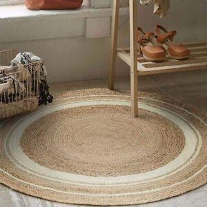 Rug Jute Round Braided  Style Rustic Look 100% Natural Jute Reversible 5x5 Feet