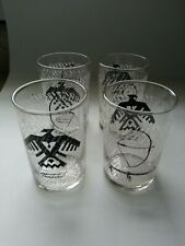 Vintage Federal Glass FOUR Thunderbird Native American Pipe Bow Juice Glasses