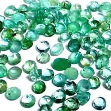 NATURAL ROUND-CUT EMERALD GEMSTONES LOOSE 10 pcs - 2.3 to 2.6 mm  COLOMBIAN LOT