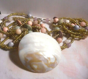 6 stranded necklace with large real Abalone shell pendant,glass beads etc.