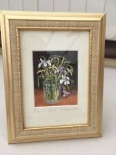 """Nicely Mounted Small Flower Picture """"Iris in a Glass"""" by Rosalind Cestram"""