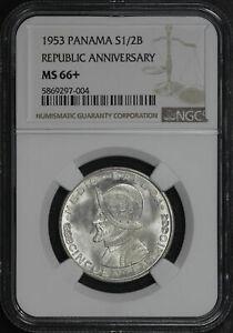 1953 Panama Silver 1/2 Balboa NGC MS-66+ Republic Anniversary