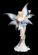 Elfen Figur groß - Tyaida mit Zauberstab und Eule - Fee Fantasy Statue Deko