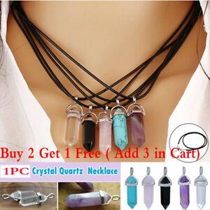 1PC Crystal Quartz Point Hexagonal Healing Pendant Chakra Necklace Gemstone