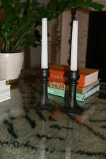 Vintage Mid Century/Hollywood Regency Black Ceramic Candlesticks- Hungary