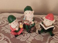 Vintage Homco Christmas Elves Set Of Three Elf Figurines Santa's Helpers 5205