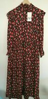 BNWT ZARA BLACK AND RED FLORAL LONG FLOWING DRESS WITH HIGH NECK SIZE S