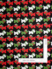 Christmas Fabric - Holiday Scottie Dogs Black #15269-2 Kaufman Jingle - Yard