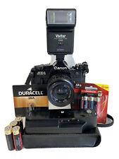 Canon AE-1 Program Black SLR 35mm Film Camera Motor Power Winder Flash 28mm Lens