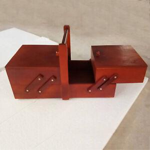 Wood Sewing Kit Box Needles Accessories Sew Basket Organizer Household