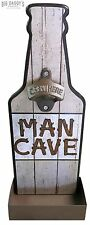 Man Cave Bottle Shaped Opener Sign W/ Tray Wall Mounted Bar Pub Garage Beer