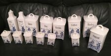 Vintage German Delft Blue-Oil & Vinegar Cruets/Pitchers, Cannisters  - Windmill