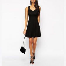 Womens Cocktail V Neck Swing Mini Dress Summer Sleeveless Party Evening Clubwear