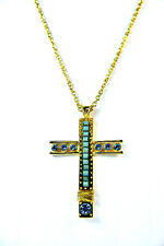 LADIES GOLDEN TURQUOISE CHUNKY STONE CROSS NECKLACE BRAND NEW UNIQUE AZTEC (SR2)
