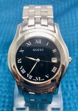 e9989134bf5 Auth GUCCI Date Black Dial Stainless Steel Swiss Quartz Men s Watch 5500M  37mm