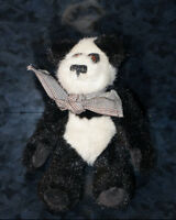 1990s THE BOYDS COLLECTION Teddy PANDA BEAR & Friends Black White Stuffed Plush