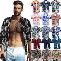 Men Summer Short Sleeve T-shirt Hawaiian Shirts Holiday Beach Casual Blouse Tops
