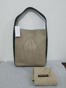 RRP £450 RARE OVERSIZE AMANDA WAKELEY Taupe Leather Jovi Handbag with Dust