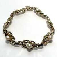 """VINTAGE Gold Tone INFINITY LOOP Faux Pearl BRACELET Chain Link 7.5"""""""