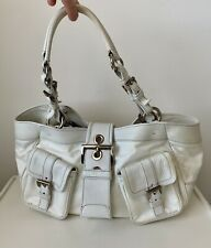 Prada White Nylon and Leather Shoulder Handbag Tote - Large