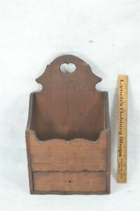 wall box /drawer wooden heart top pine old replica hand made 19th early style