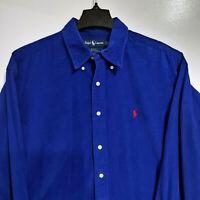 VTG POLO Ralph Lauren Men's XL Corduroy L/S Button Down Shirt Blake Blue