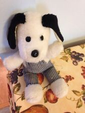 VINTAGE 1980 AMTOY LUCKY PUPS OVERALLS WHITE  PUPPY DOG PLUSH DOLL FIGURE
