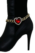 Women Gold Metal Chain Boot Bracelet Anklet Shoe Charm Jewelry Red Heart Love