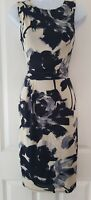 Womens Phase Eight Dress size 8 black cream floral fitted stretch party occasion