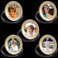 WR Royal Rose Princess Diana Commemorative Gold Coin Set Memorabilia Gifts 5pcs