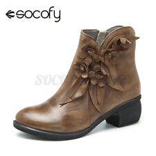 US SOCOFY Booties Women Ankle Boots Retro Handmade Leather Shoes Floral Zipper
