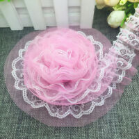 New 5 yards 2-Layer 40mm Pink Organza Lace Gathered Pleated Sequined Trim UK-5