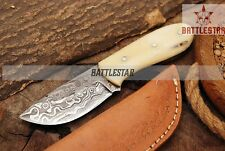 6 INCH FULL TANG SKINNER DAMASCUS STEEL EVERYDAY CARRY KNIFE HANDLE SMOOTH BONE