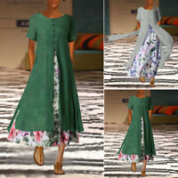 UK 8-24 Women Vintage Floral Short Sleeve Double Layers Split Tunic Long Dress