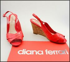 DIANA FERRARI WOMEN'S WEDGED HEEL OPEN TOE PATENT LEATHER SHOES SIZE 7