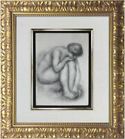 Auguste Renoir 1923 'Nude' Lithograph B&W Limited Edition 500 Not Signed w. COA
