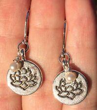 Lotus Flower, Pearl & Sterling Silver Plated Leverback Earrings Sundance Arti