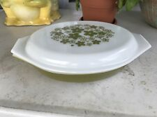 Pyrex Green Olive Oval Divided Covered Casserole Dish Lid 1 Quart Vintage