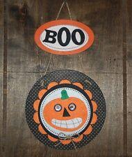 """Wooden/Felt Halloween Pumpkin """"BOO"""" Wall Hanging/Magnet, Made in the USA"""