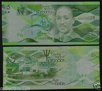 Barbados Banknote 5 Dollars 2013 UNC