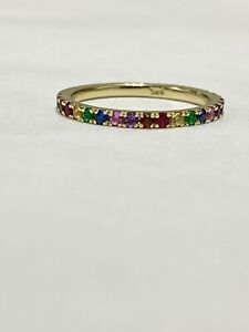 1/4 ctw Genuine Rainbow Sapphire & Gems Stackable Band Ring 14k Yellow Gold