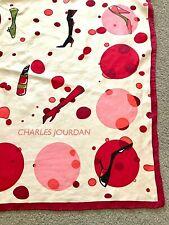 "Vintage Charles Jordan Silk Scarf 90cm (36"") Square Cream & Red Designer"