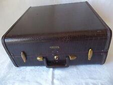 "Vintage Leather Samsonite 17 1/2"" x 18"" "" Hard Suitcase Alligator Look No.4160"