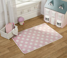 Flair Rugs Nursery Print Polka Dots Childrens Rug, Pink, 70 x 100 Cm